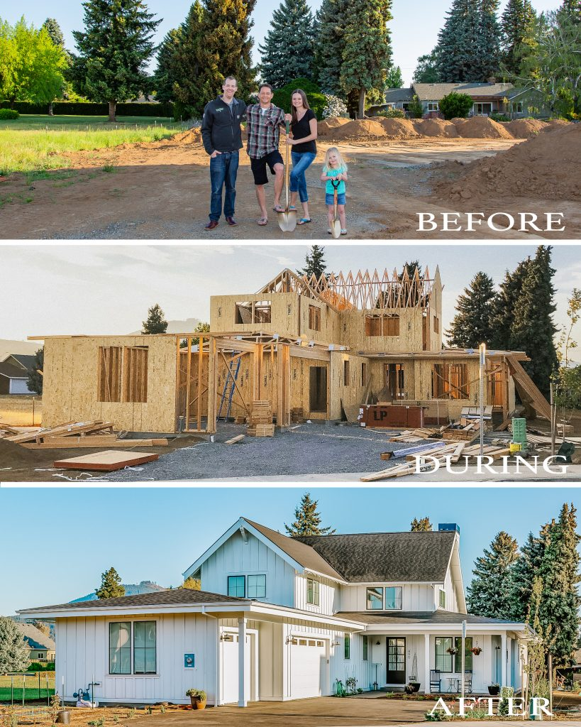 Before and after home build photo