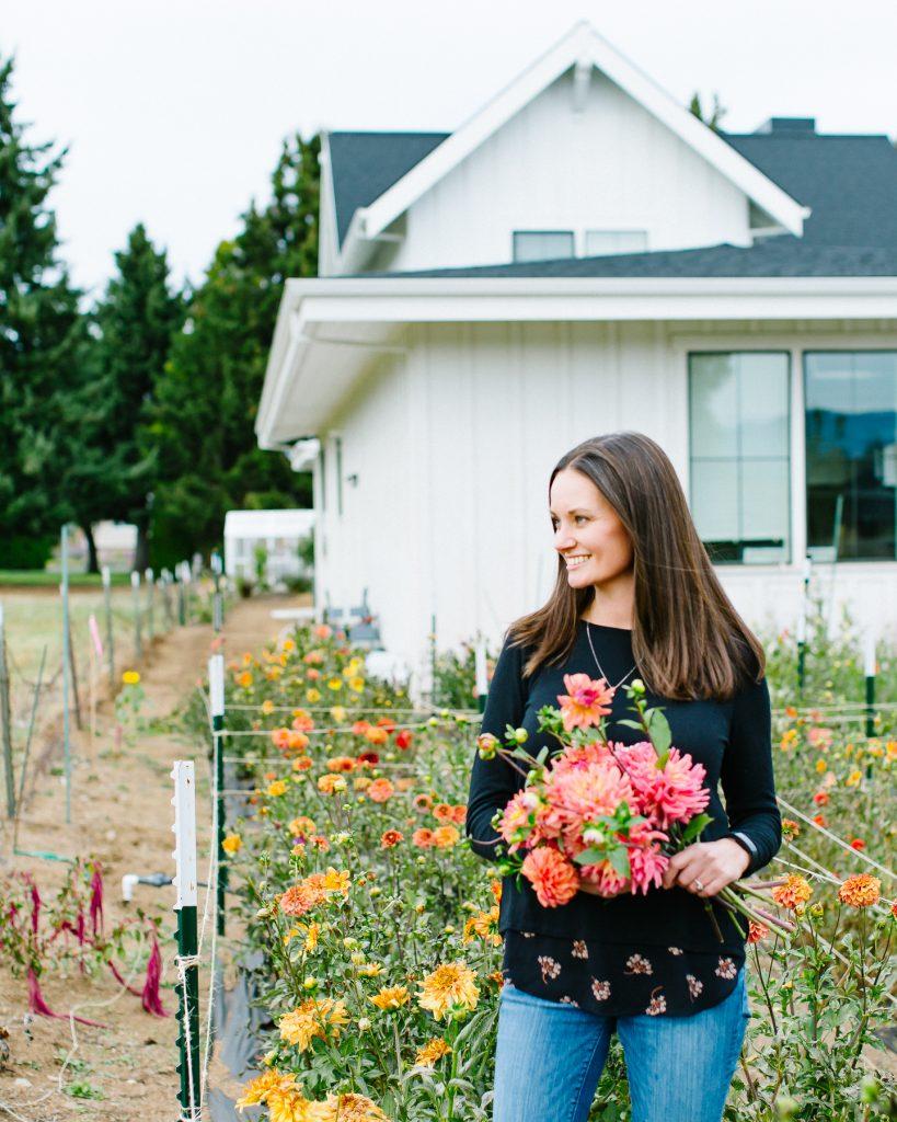 Jennifer at the flower farm