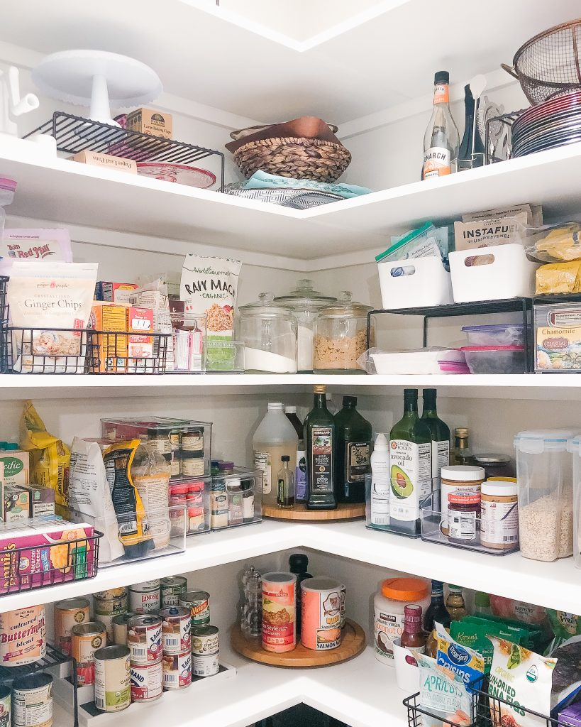 an organized kitchen pantry