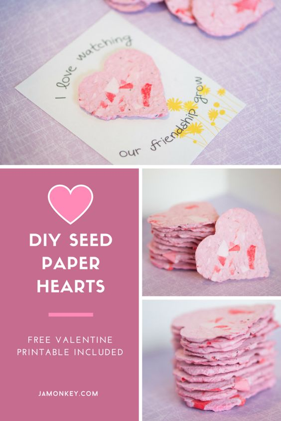 DIY Recycled Valentine Seed Cards with Flower Paper Hearts